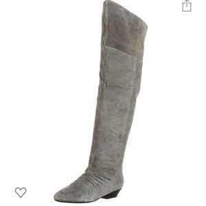 Chinese Laundry Grey Suede Flat OTK Boots